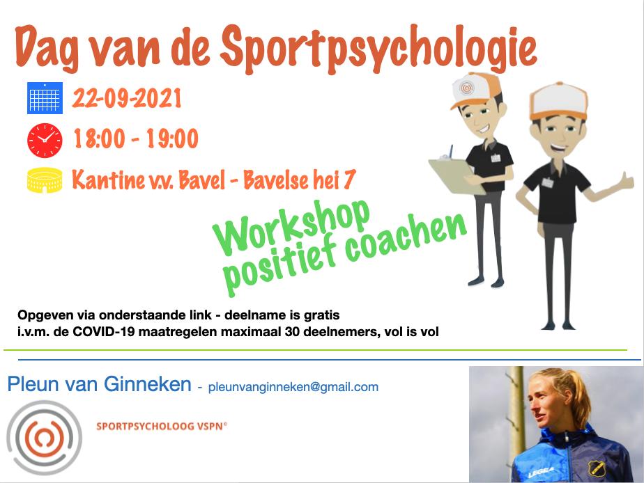 Workshop positief coachen bij v.v. Bavel (ook voor niet-leden) - 22 september as.